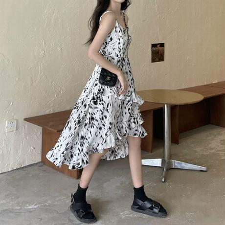 花柄 スリングワンピース 不規則デザイン キャミワンピース アシンメトリー ハイウエスト 韓国ファッション レディース ワンピ アシメ 大人可愛い ガーリー DTC-642523018801