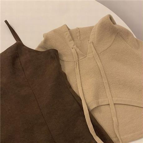 セットアップ スリングワンピース + パーカー クロップド丈 ハイウエスト 長袖 韓国ファッション 2点セット キャミワンピース 大人可愛い ガーリー DTC-633834866784