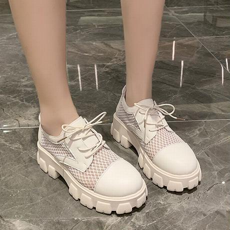 メッシュシューズ レースアップ 厚底 通気性 韓国ファッション レディース メッシュ ローファー 歩きやすい カジュアル 623881281667