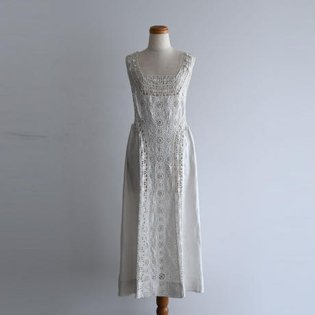 1900s Antique Handmade Lace Pinafore Dress