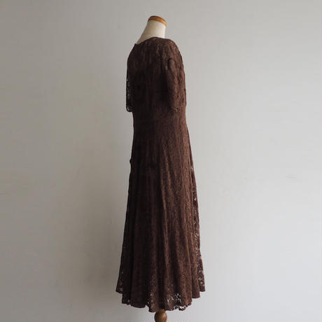1940s Brown Floral Lace Dress