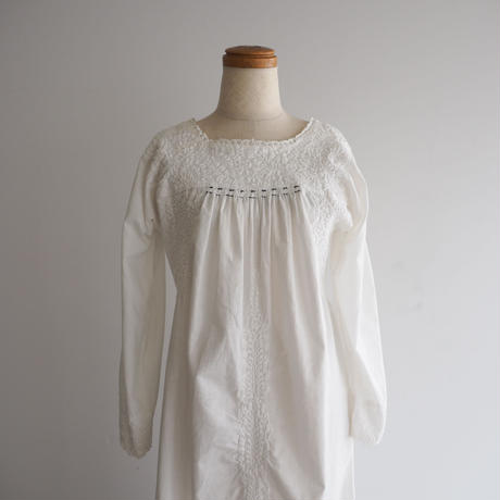 Vintage Embroidered White Dress