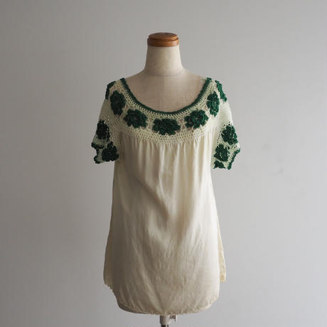 1940s Crochet Silk Blouse