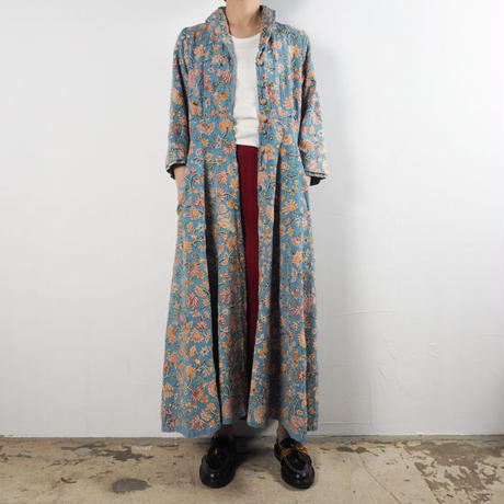 1940s Embroidered Long Coat Dress