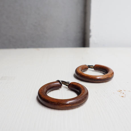 vintage Wood Hoop Earrings