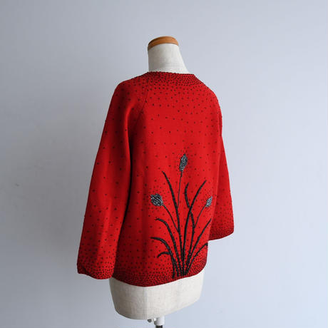 1960s Beaded Red Cardigan