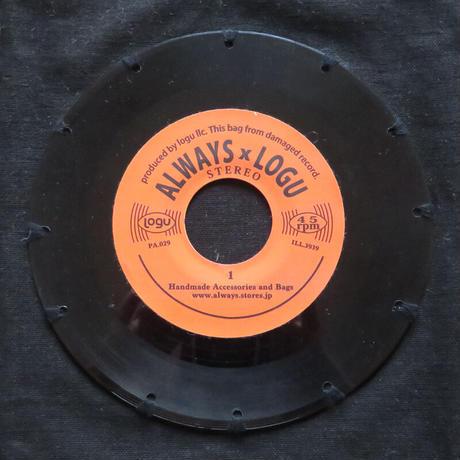 本物のレコードを使ったバッグ「bagu」L 大きめトートバッグ ブラック  TOL-104BK