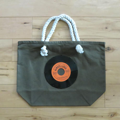 マリントートバッグ「bagu」本物のレコードを使った大き目トートバッグ カーキ MT-104KOR