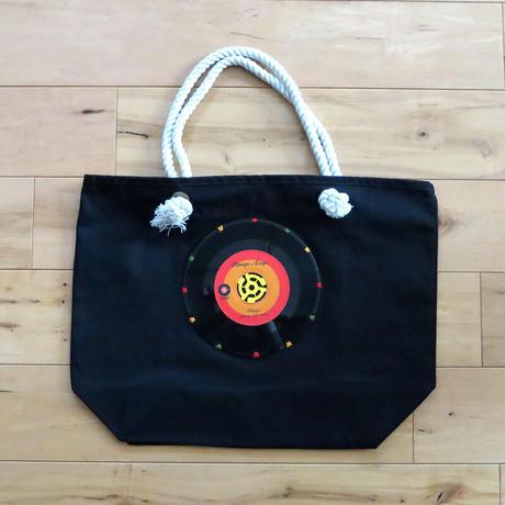 マリントートバッグ「bagu」本物のレコードを使った大きめバッグ ブラック MT-103BK