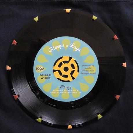 (訳アリ)本物のレコードを使ったサコッシュ「bagu」アイランド xネイビー SA-101NV