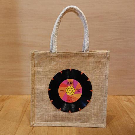本物のレコードを使ったジュートバッグ「bagu」ピンク JU-102NAP