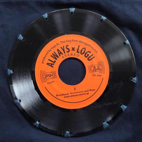 本物のレコードを使ったサコッシュ「bagu」ネイビーxオレンジ SA-104NOR