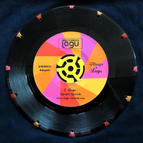 本物のレコードを使ったサコッシュ「bagu」ピンクxネイビー   SA-102NPS
