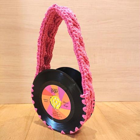 本物のレコードで出来たバッグ「bagu 」コットン ピンク アップサイクル レコードバッグ AB-102CP