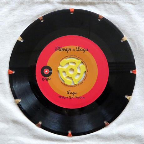 本物のレコードを使ったサコッシュ「bagu」ナチュラルxレッド  SA-103NR
