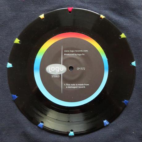本物のレコードを使ったバッグ「bagu」L 大きめトートバッグ ミッドナイトブルーxレインボー  TOL-008NV