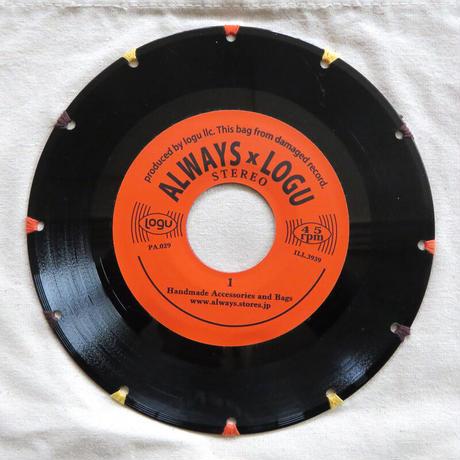 本物のレコードを使ったサコッシュ「bagu」ナチュラルxオレンジ SA-104NORC