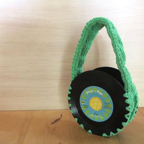 本物のレコードを使ったバッグ 「bagu」cotton strings green AB-101CGRN