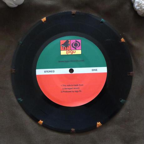 マリントートバッグ「bagu」本物のレコードを使った大き目トートバッグ カーキ MT-001K