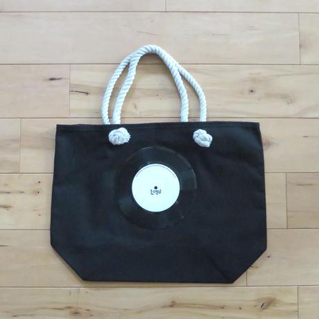 マリントートバッグ「bagu」本物のレコードを使った大き目トートバッグ ブラック MT-007BK
