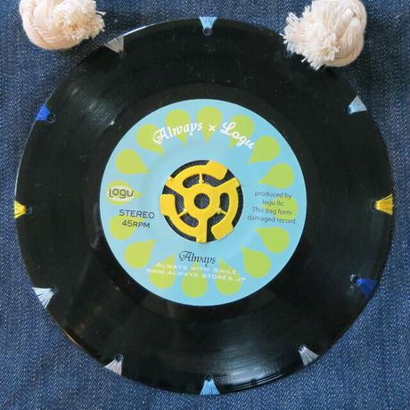 本物のレコードを使ったバッグ「bagu」デニムトートS BLUE  DTS-101DBL