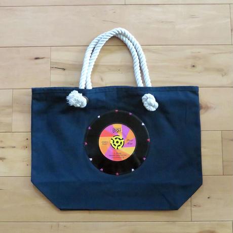 マリントートバッグ「bagu」本物のレコードを使った大き目トートバッグ ネイビー MT-102NP