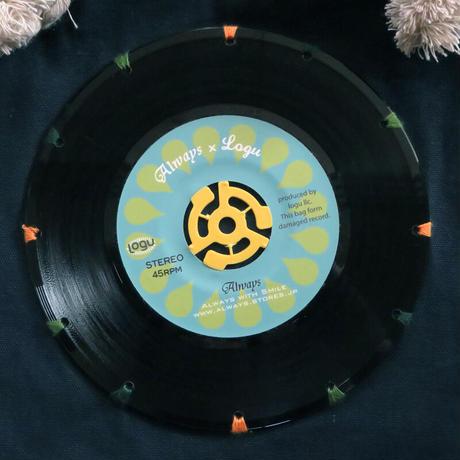 マリントートバッグ「bagu」本物のレコードを使った大き目トートバッグ ネイビー MT-101NBL