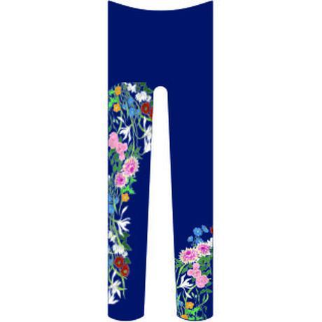 花(続き柄) タイツ 瑠璃紺色