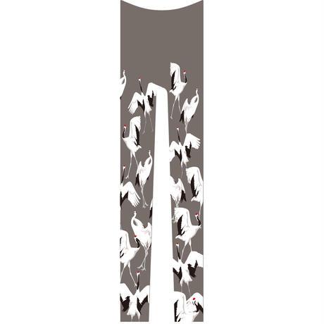 鶴 レギンス 総柄 鼠色
