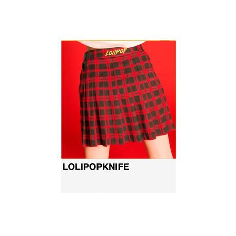 〈残りわずか〉LOLIPOP刺繍入り2way巻きプリーツスカート RED