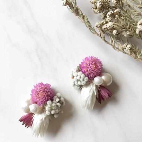 dry flower  pierce earring