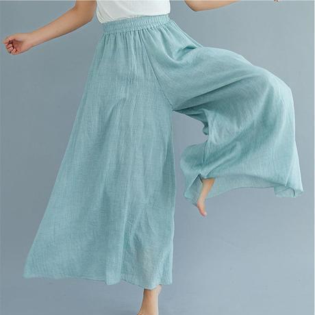 夏セール!カラーバリエーション豊富なリネンパンツ リネンスカート ワイドパンツ パンツ スカート ロング 麻 麻混 ブラック 黒 ホワイト ライトグリーン ネイビー ブルー TAGX11759