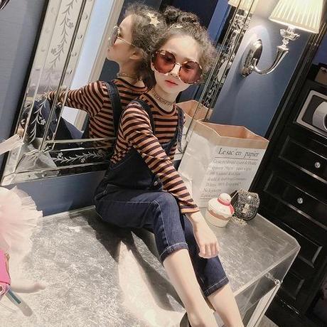 女の子 カジュアル 子供服 ボーダーカットソー 長袖 入学式  女の子 韓国子供服 トップス ズボン カジュアル着 サロペット セットアップ 送料無料 オールインワン TAGX10882