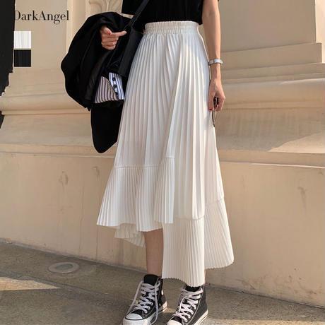 揺れる度エレガントに!アシンメトリープリーツスカート プリーツスカート フレアスカート ロング ミディアム丈 夏 ホワイト 白 ブラック 黒 Sサイズ Mサイズ Lサイズ TAGX11761