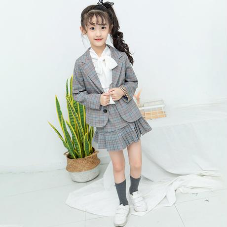 cad5d8ffc643c ... 韓国子供服 キッズ フォーマル スーツ プリーツスカート ミニ丈 リボンシャツ 入学式 卒業式