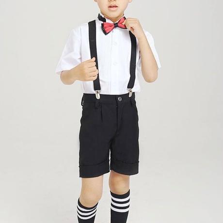 キッズ 子ども服 子ども服(男の子) フォーマル スーツ スーツセット 男の子 5点セット 結婚式 二次会 子供服 サスペンダー ストライプ柄 無地 発表会 パンツ TAGX11250