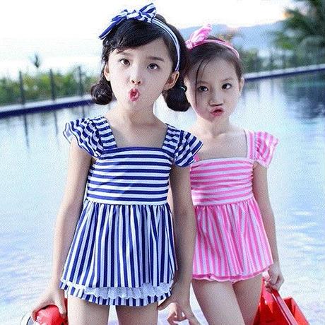 キッズ 子ども水着 水泳用品 女の子用水着 スポーツ 水泳 ファッション水着 夏 ストライプ柄 水着 セパレート 女の子 ワンピース キッズ水着 子供水着 プール TAGX11019
