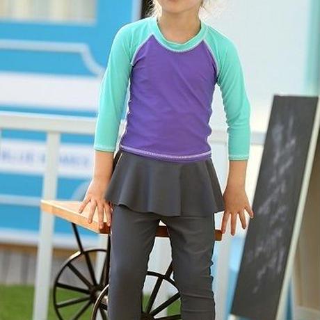 キッズ 女の子水着 スカート付き 紫外線予防 日焼け対策 かわいい ガーリー 保育園 幼稚園 プール 海 水遊び セパレート 7分袖 ヘアバンド 小学生 スイムウェア 送料無料 TAGX11110