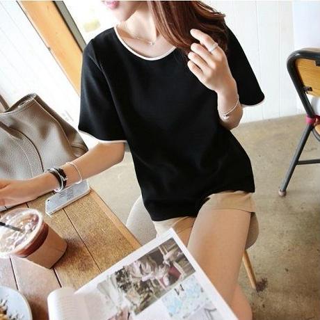 トップス カットソー Tシャツ 半袖 無地 夏 シンプル Uネック 黒T 白T ストレッチ お出かけ デート 清楚 オフィス 通勤 通学 涼し気 大人 上品 TAGX11325