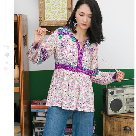 秋まで着れ惹かれる♪花柄柄シャツチュニック 大きいサイズ レディース トップス シャツ ブラウス 長袖シャツ ロングシャツ ペイズリー柄シャツ ロング丈 ペイズリー柄 TAGX11806