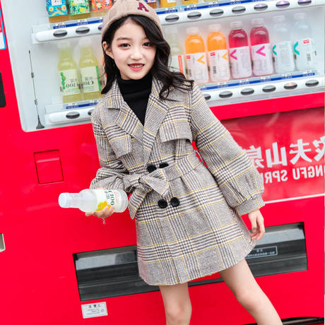 bb57f3d29972d ... キッズ 暖かい チェック チェスター コート ボリューム袖 韓国子供服 ベージュ コート 防寒 上着 子供 ...