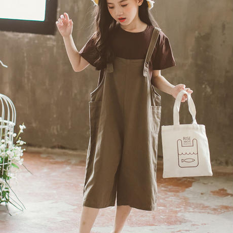 韓国子供服 女の子セットアップ 子供服 ナチュラル サロペット+Tシャツ2点セット キッズ ひざ丈 セットアップ お買い得商品 送料無料 TAGX11736