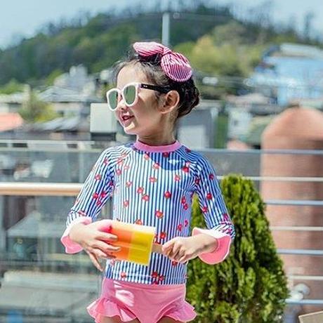 ベビー キッズ 女の子水着 長袖 水着 イチゴ 苺 フリル ストライプ ビキニー 韓国子供服 韓国服 子供服 おしゃれ水着 幼稚園 保育園 送料無料 TAGX11065
