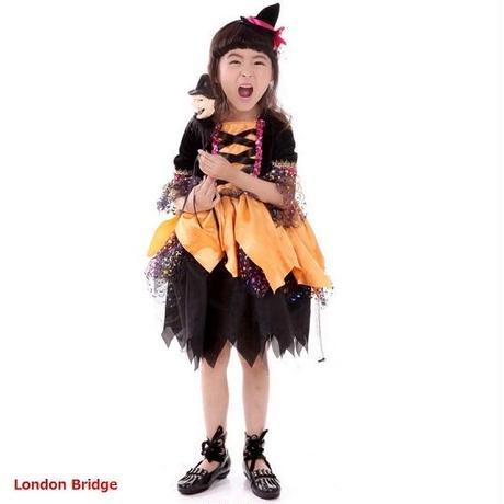 新作 ハロウィン かぼちゃコスプレ子供 魔女 ハロウィン かぼちゃ キッズ 魔女 女の子 衣装 仮装 2017 コスチューム 魔法使い TAGX10344
