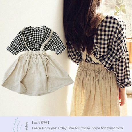 韓国子供服 女の子セットアップ 子供 ナチュラル ギンガムチェック キッズ ひざ丈 9分袖 チェックシャツ ワンピース スカート ベストセットアップ 送料無料 TAGX11649