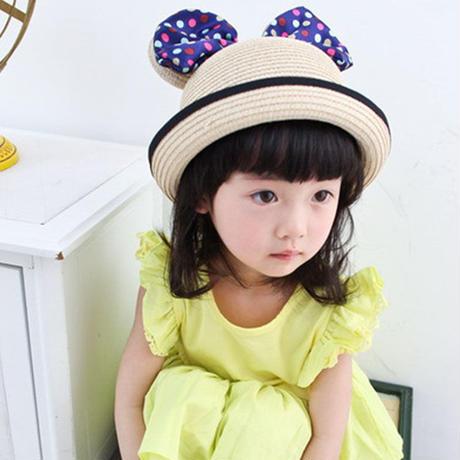 キッズ 子ども服 子ども用ファッション小物 帽子 耳付き帽子 麦わら帽子 ストローハット 女の子 麦わらハット 夏 ハット 日焼け止め UV対策 紫外線カット TAGX11029
