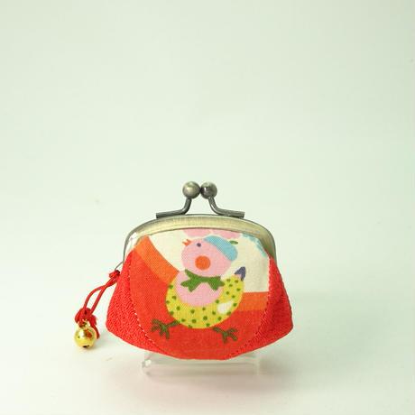 1.7寸四つはぎ(鈴付き) ベレー帽小鳥 赤色