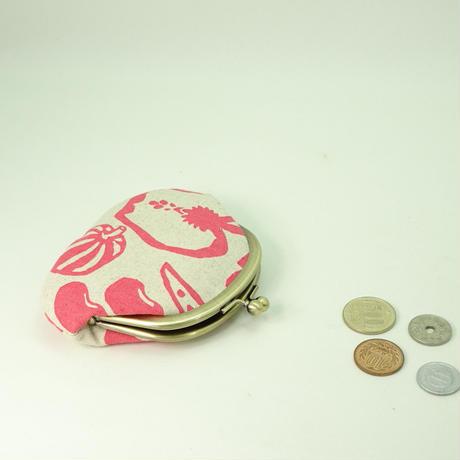 3.3寸丸・5.5寸リング付ポーチ セット お野菜 ピンク色 ※送料無料!