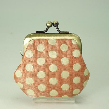 1.8寸豆小銭入れ  ふくれ織り 水玉 メタルピンク色