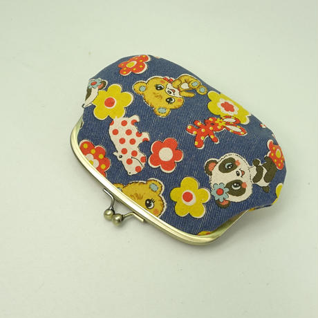 5.5寸クシポーチ レトロ パンダ・くま 青色